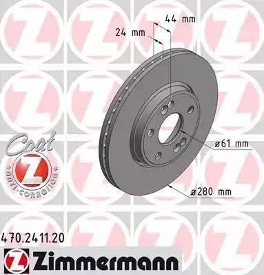 Zimmermann 470.2411.20 - Тормозной диск sparts.com.ua