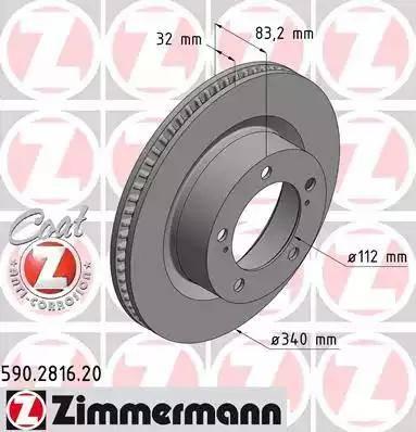 Zimmermann 590.2816.20 - Тормозной диск sparts.com.ua