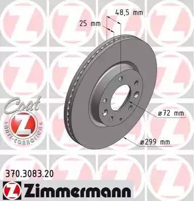 Zimmermann 370.3083.20 - Тормозной диск sparts.com.ua