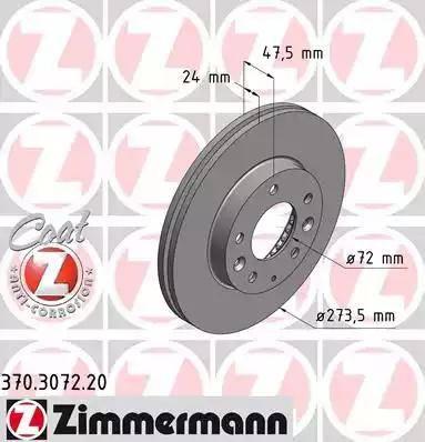 Zimmermann 370.3072.20 - Тормозной диск sparts.com.ua