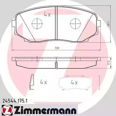 Zimmermann 24544.175.1 - Тормозные колодки, дисковые sparts.com.ua