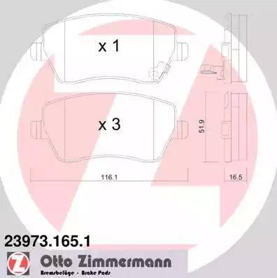 Zimmermann 23973.165.1 - Тормозные колодки, дисковые sparts.com.ua